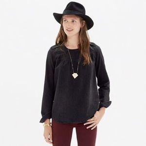 Madewell dark grey denim shirred popover shirt